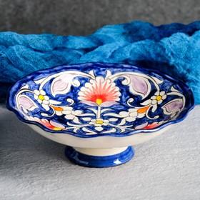 Конфетница Риштанская Керамика, 14см, синяя