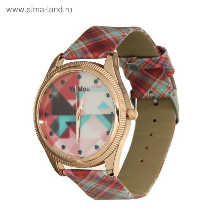 Часы наручные женские, ремешок в клеточку, рисунок на циферблате абстракция розовый фон