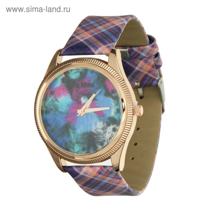 Часы наручные женские, ремешок в клеточку, рисунок на циферблате абстракция с пером