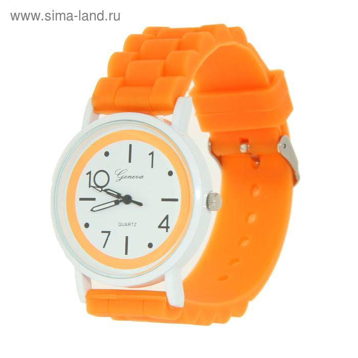 Часы наручные женские ремешок силикон цветной, корпус белый, ободок оранжевый