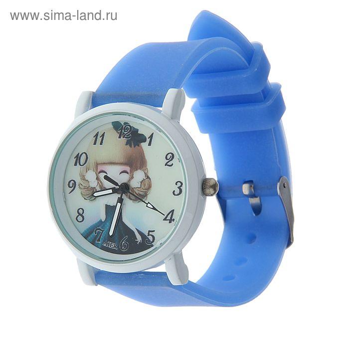 Часы наручные женские циферблат с девочкой, белый корпус, силиконовый ремешок синий