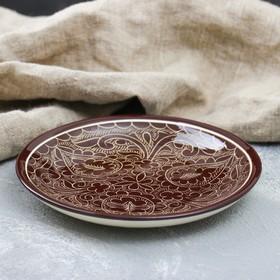 Plate flat 15.5cm brown.