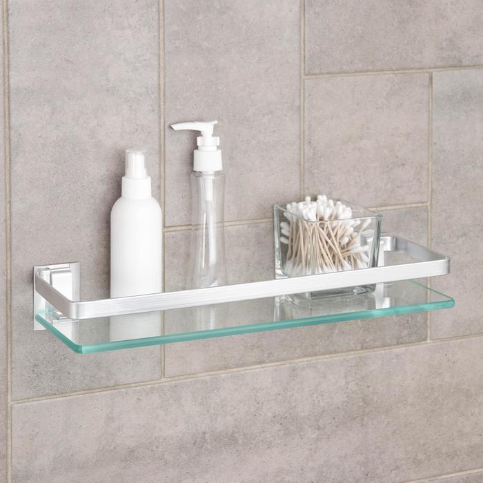 Полка для ванной комнаты, 40×12×6 см, алюминий, стекло