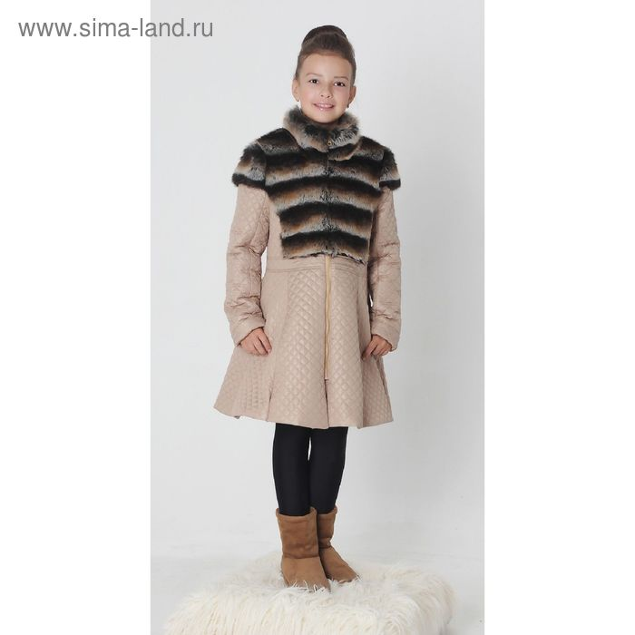 """Пальто для девочки """"КВИН"""",  рост 158 см, цвет бежевый"""