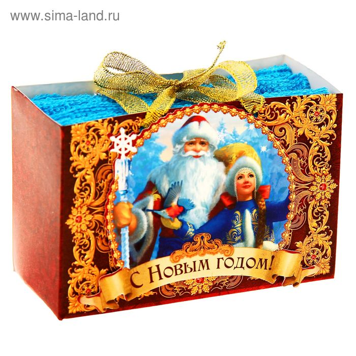 "Наб. полотенец Collorista ""Дед Мороз и Снегурочка"" 30х30 см - 2 шт, хлопок 410гр/м2"