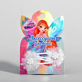 A set of clips with a flower, Winx Fairies, 2 pcs.