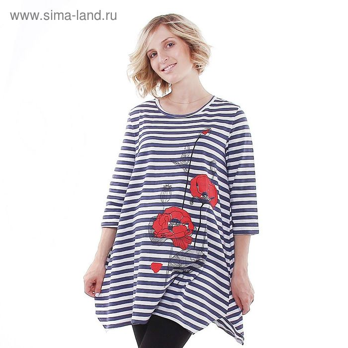 """Туника женская Collorista """"Маки"""", размер XL(50), полоса, хлопок 100%"""