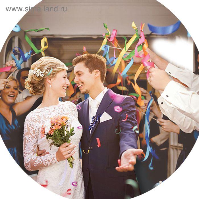 """Свадебные палочки с лентами и бубенчиками """"Радужные фесты"""", набор 3 шт., красный"""