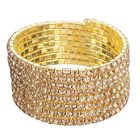 """Браслет-пружинка """"Лед"""" 8 рядов, цвет шампанского в золоте"""