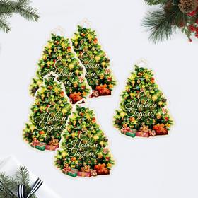 Декоративный шильдик на подарок 'Новогодняя ёлка', 7,6 х 10 см Ош
