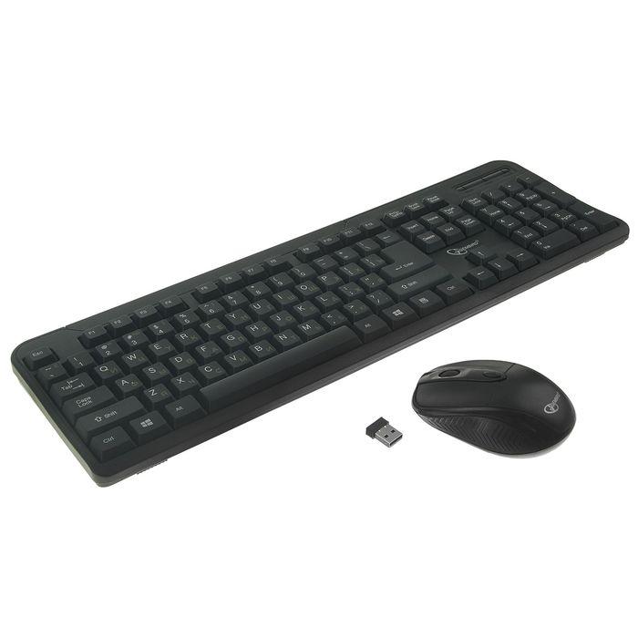 Комплект клавиатура и мышь Gembird KBS-7002, беспроводной, мембранный, 1600 dpi, черный