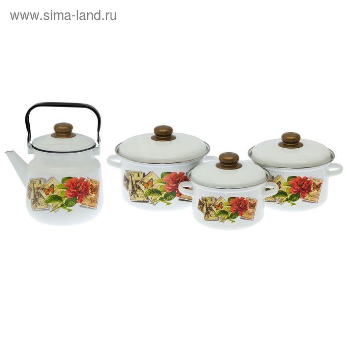 "Набор посуды ""Париж. Ретро"", 3 шт: 2 л, 3 л, 4 л, чайник 3,5 л"