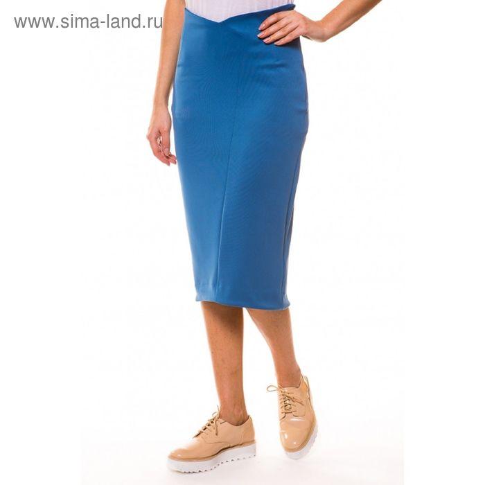 Юбка женская 4075 С+, цвет голубой, р-р 50