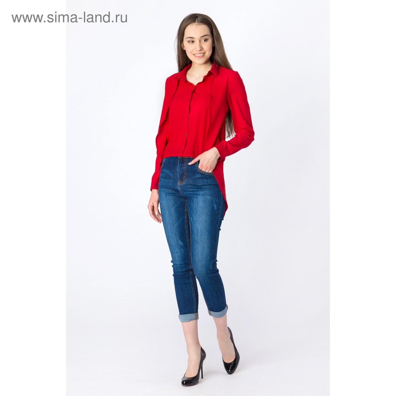 0edd1764d605a93 Рубашка женская удлинённая, цвет красный, размер 42 (1564525 ...