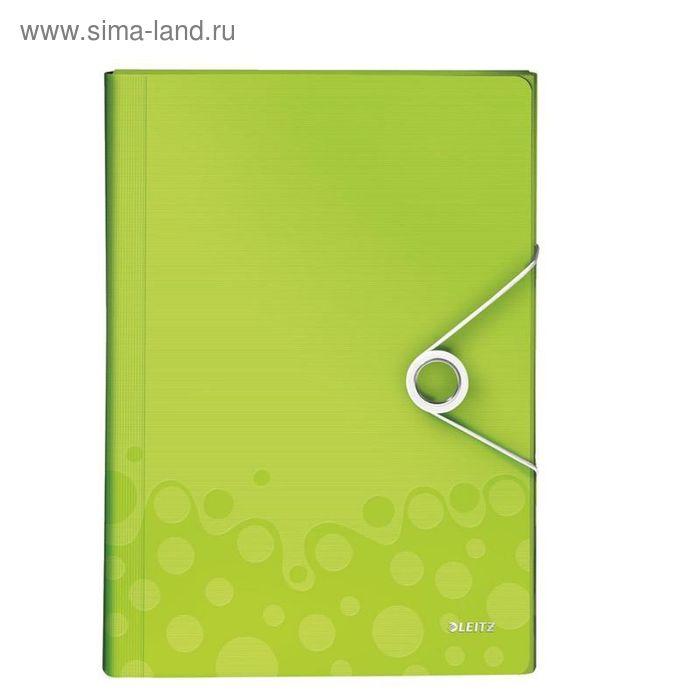 Папка для проектов Leitz Wow А4 до 200 листов, зеленая, 6 отделений