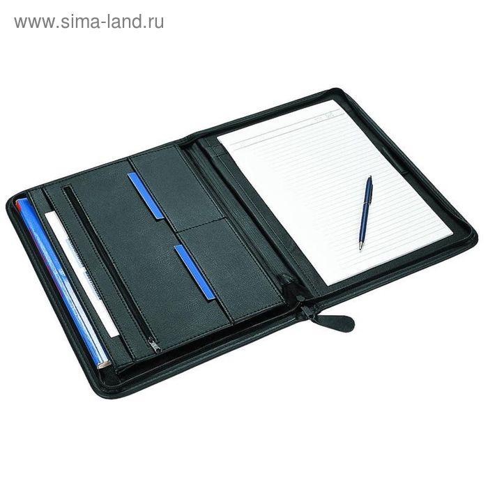 Папка из кожзама ЛИДЕР м151 с молнией в окантовку, черная