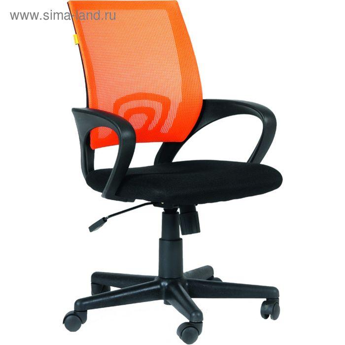 Кресло для оператора EChair-304 черное/оранжевое (ткань/сетка/пластик)