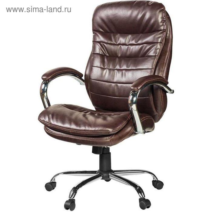 Кресло для руководителя EChair 515 RT коричневое (рециклированная кожа/металл)