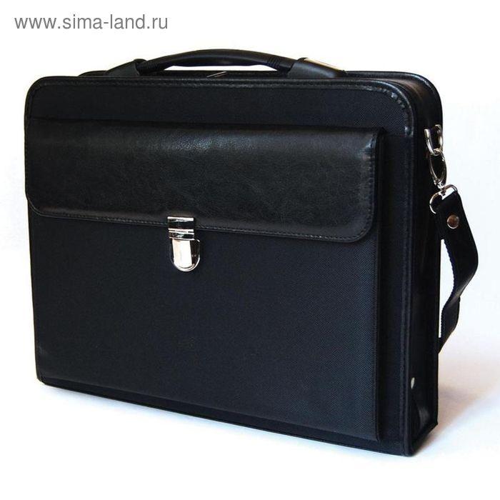 Портфель «Паритет» винил/полиэстер, чёрный, с плечевым ремнем