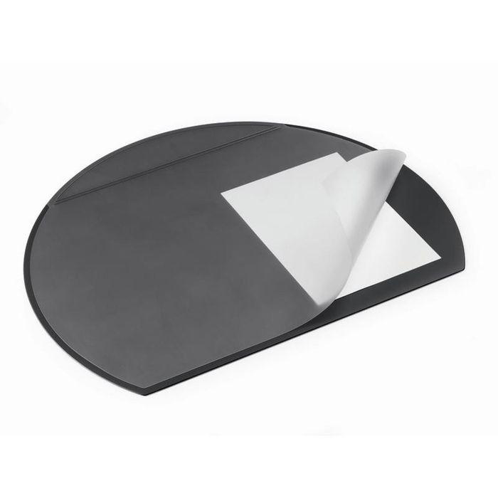 Коврик на стол Durable 52х65 см, полукруглый, прозрачный лист, черный