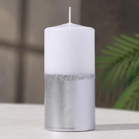 Свеча - цилиндр, 60x125, серебристо-белый