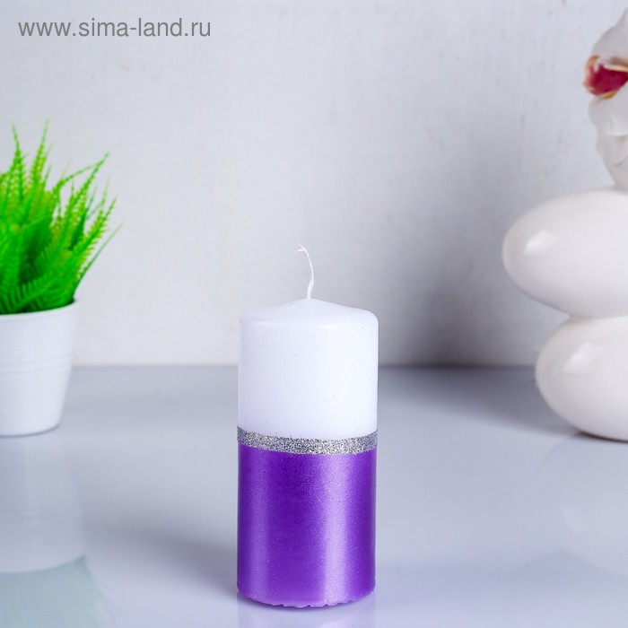 "Свеча пенек 60x125 ""сиренево-белый"""