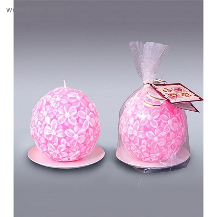 Свеча шар цветочный  розовый
