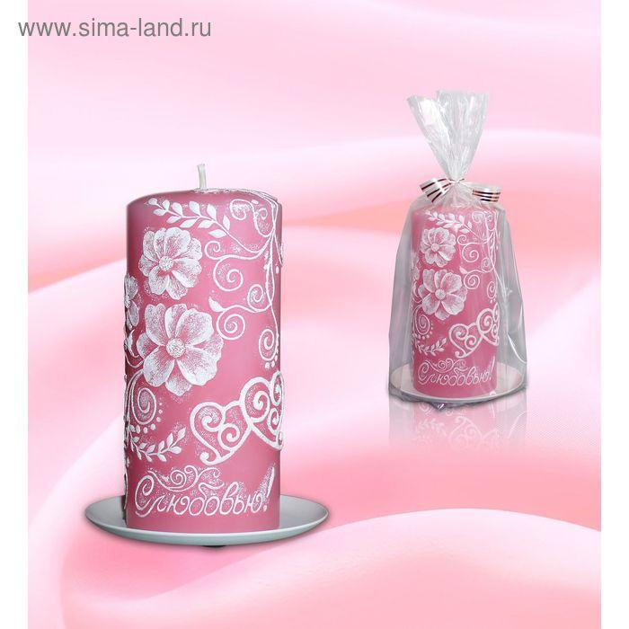 Свеча пенек цветочный розовый