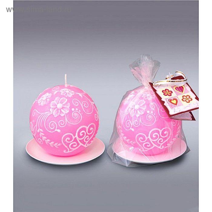 Свеча шар два сердца розовый
