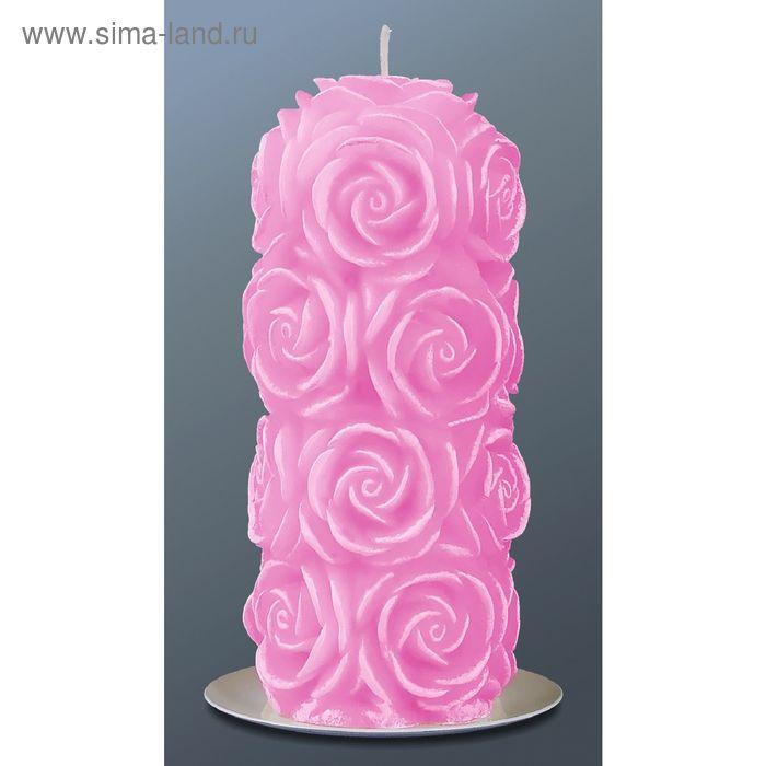 Свеча пенек в розах розовый