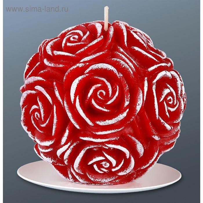 Свеча шар в розах бордо