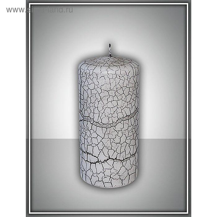 Свеча пенек 60х125 с эффектом трещин (черная)