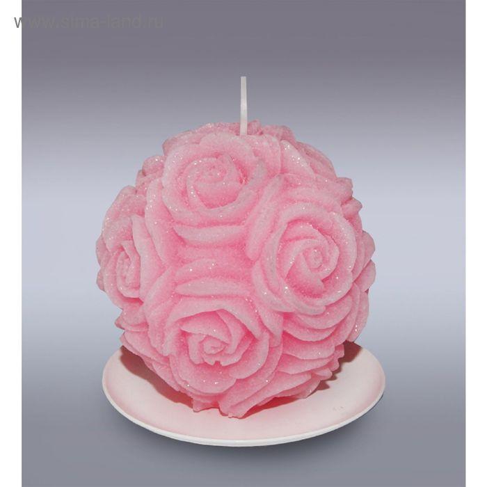 Свеча шар в розах розовый бархатный