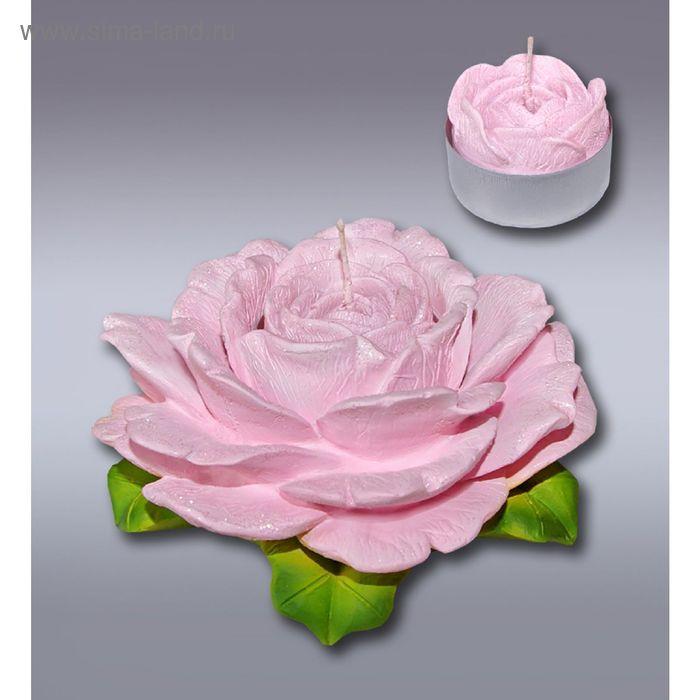 Подсвечник роза розовая со свечой