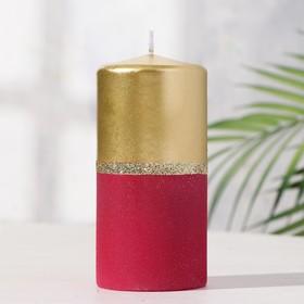 Свеча пенек 60х125 золотисто-рубиновая