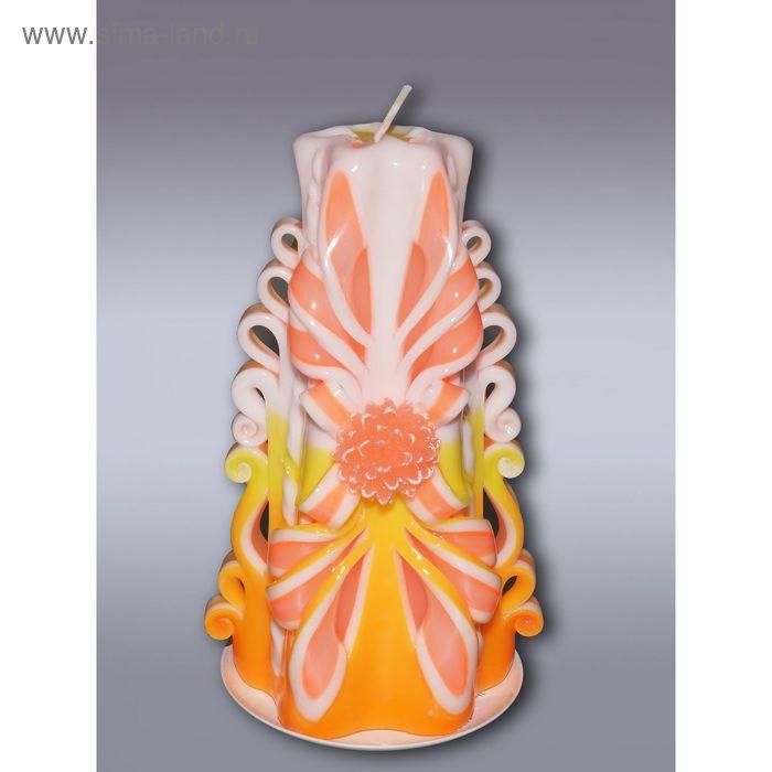 Свеча резная средняя желто-оранжевая