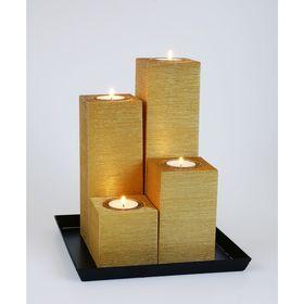 Свечи квадратная композиция золото