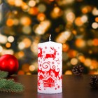 Свеча пеньковая новогодняя, красный узор