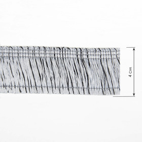 Тесьма «Бахрома», 4 см, 12 ± 1 м, цвет серебристый