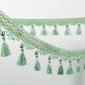 Тесьма «Кисть с лентой», 10 см, 13 ± 1 м, цвет зеленый