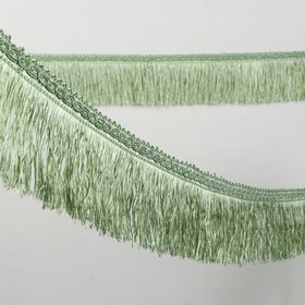 Тесьма «Бахрома», 6,5 см, 12 ± 1 м, широкая, цвет светло-зеленый