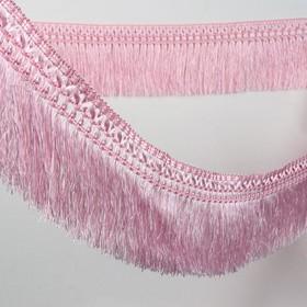 Тесьма «Бахрома», 12 см, 12 ± 1 м, с двойной окантовкой, цвет розовый