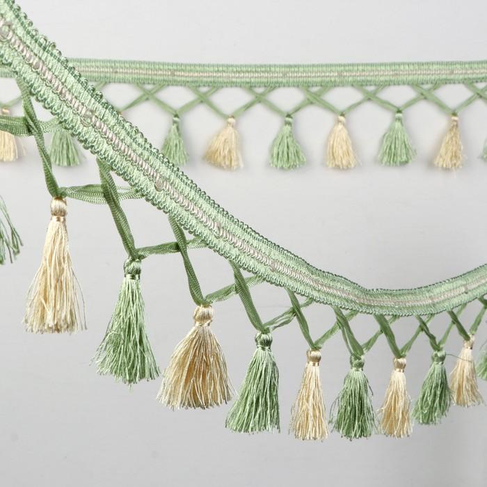 Тесьма «Переплетение кистей», 12 ± 1 м, цвет зеленый/молочный
