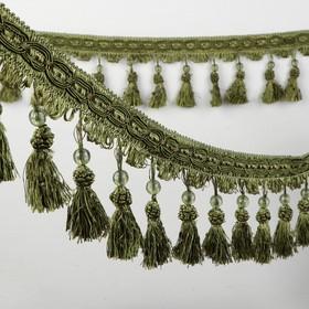 Тесьма с бусинками, 10 см, 12 ± 1 м, цвет зеленый