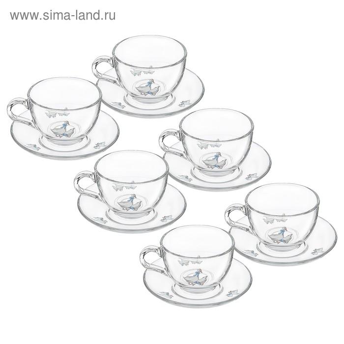 """Сервиз чайный на 6 персон """"Гуси"""", 12 предметов: 6 кружек 240 мл, 6 блюдец d=13,5 см"""