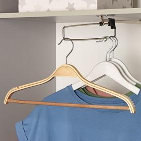 Вешалка-плечики для одежды с перекладиной Доляна, размер 44-46, антискользящее покрытие, цвет светлое дерево