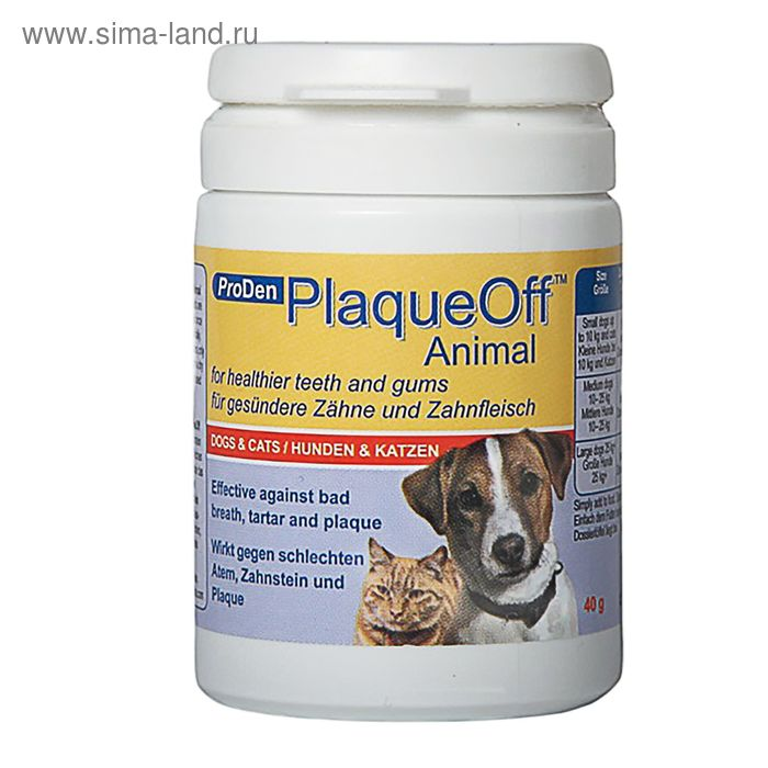 Средство для профилактики зубного камня ProDen PlaqueOff для кошек и собак, 180 г