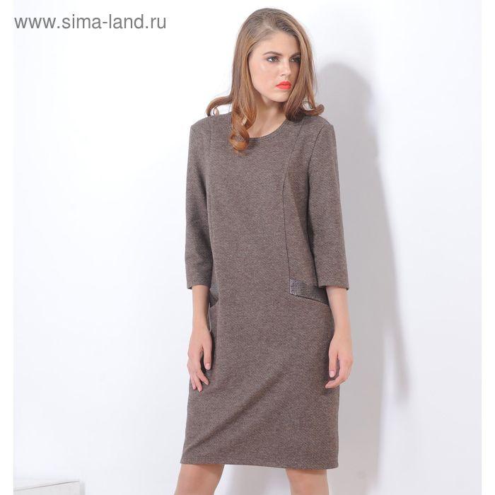 Платье 5115 С+, размер 52, рост 164 см, цвет коричневый