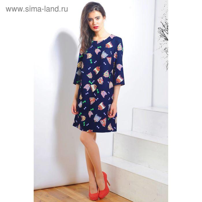 Платье 5119а С+, размер 52, рост 164 см, цвет т.синий