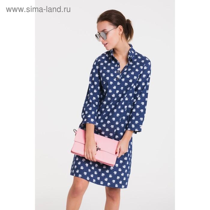Платье 5114а, размер 48, рост 164 см, цвет синий (джинс)/белый